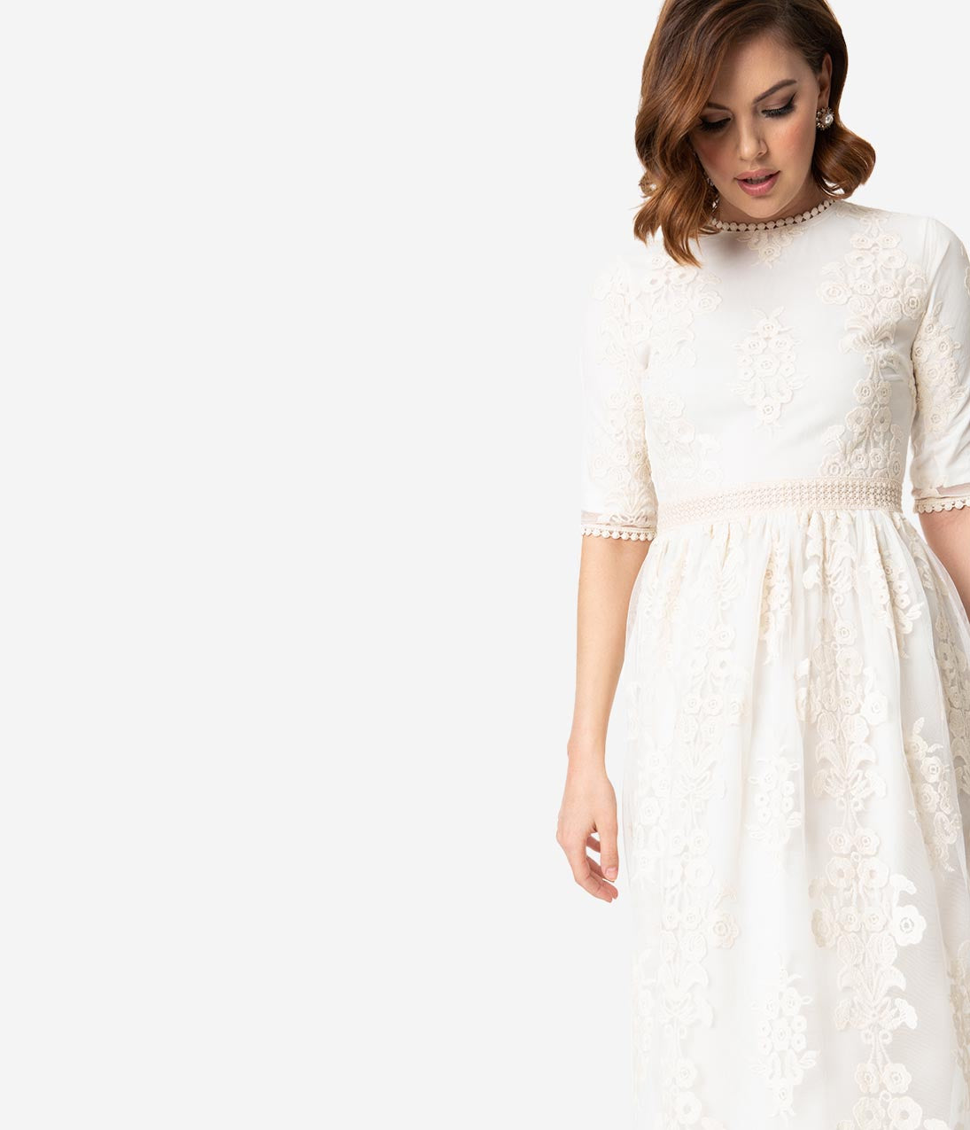 Authentic 1920s Makeup Tutorial Vintage Style Antique Ivory Embroidered Lace Modest Midi Dress $58.00 AT vintagedancer.com