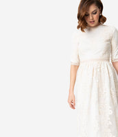 Modest Elbow Length Sleeves High-Neck Back Zipper Embroidered Vintage Mesh Lace Natural Waistline Midi Dress