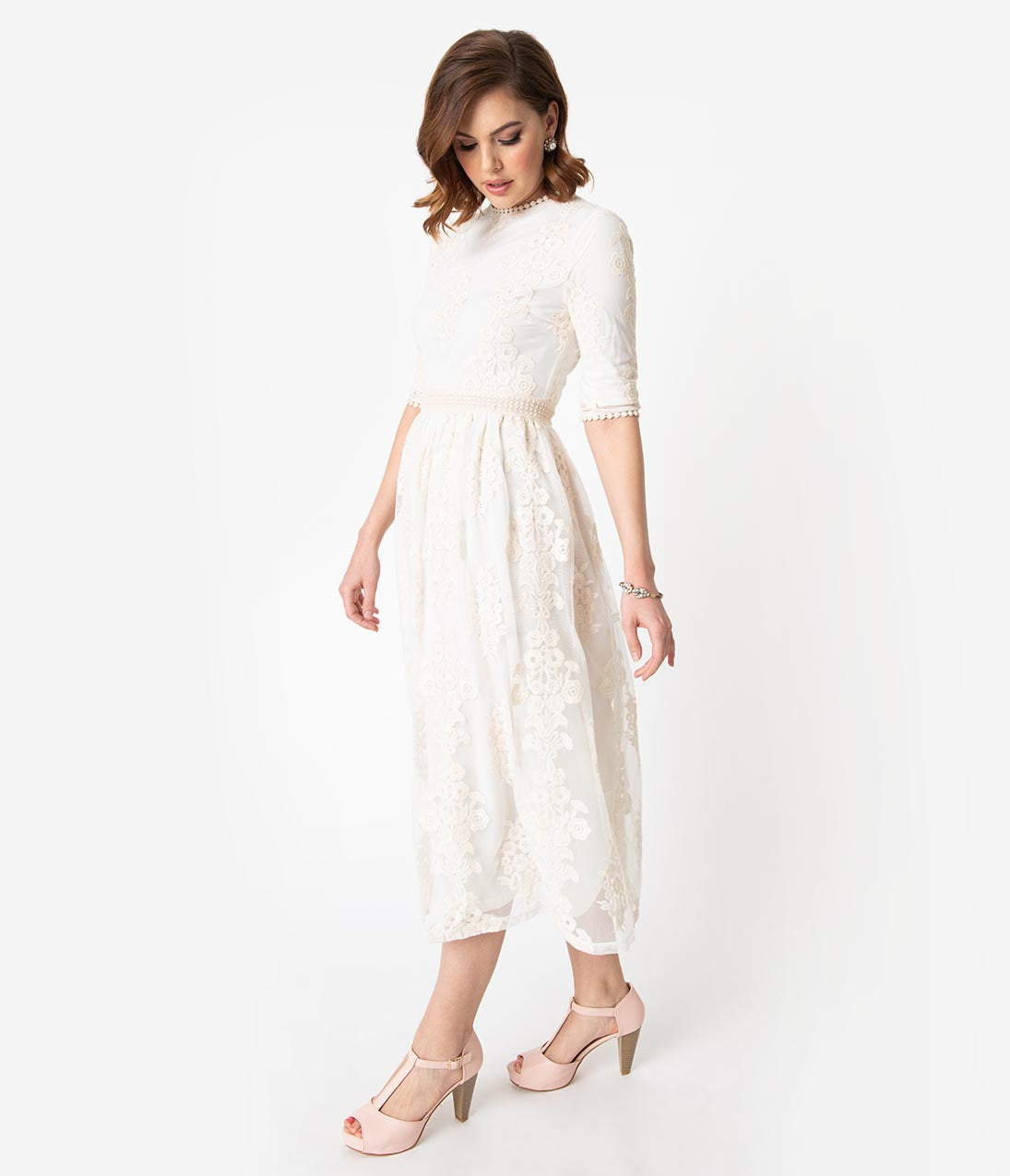 Titanic Dresses & Costumes | 1912 Dresses Vintage Style Antique Ivory Embroidered Lace Modest Midi Dress $48.00 AT vintagedancer.com