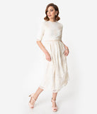 Vintage Style Antique Ivory Embroidered Lace Modest Midi Dress