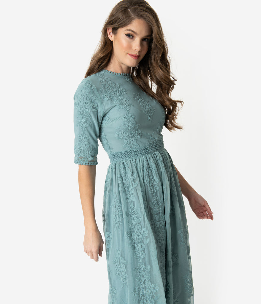 Vintage Style Sage Blue Embroidered Lace Modest Midi Dress