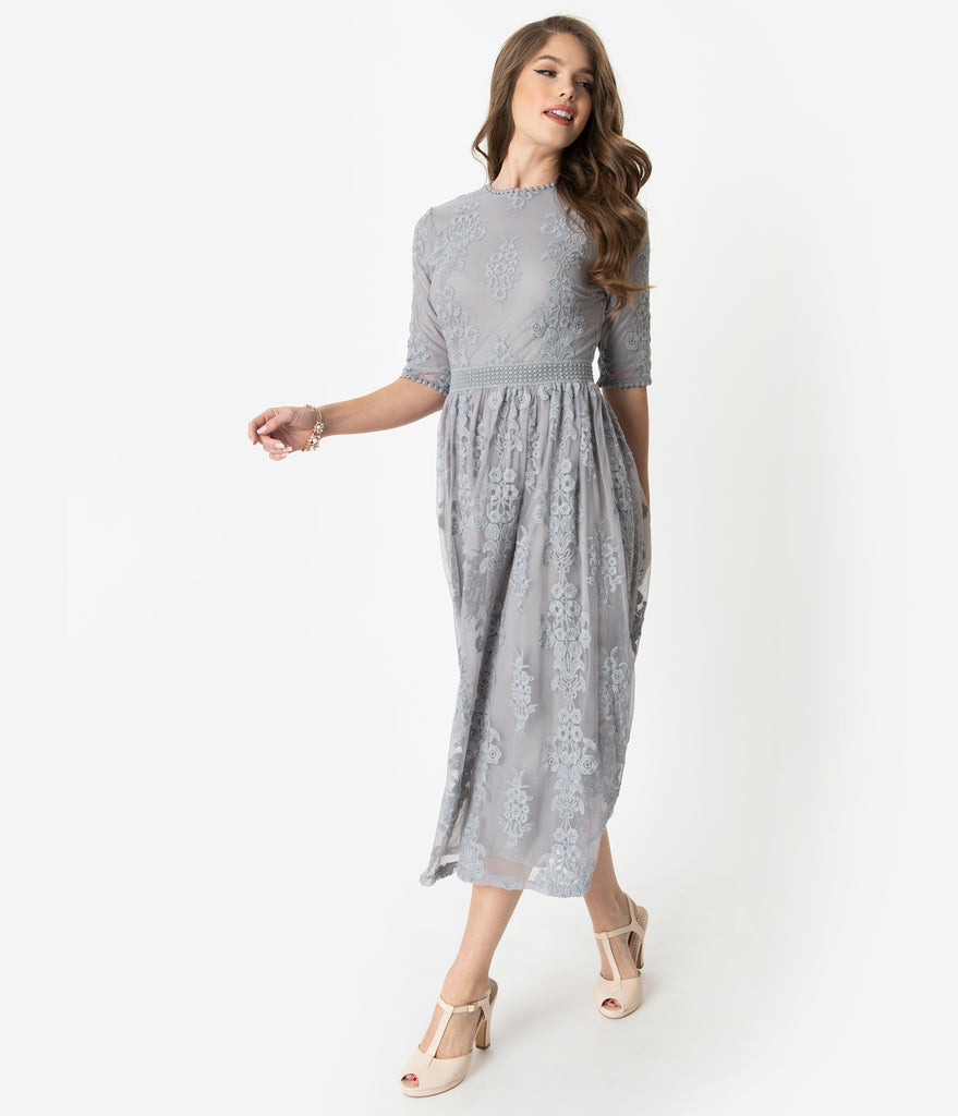92b7d442172f Vintage Style Silver Grey Embroidered Lace Modest Midi Dress – Unique  Vintage
