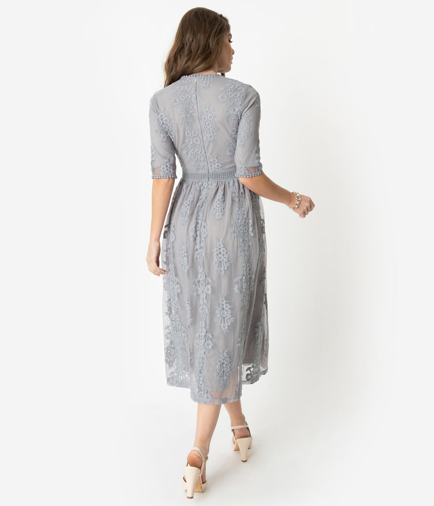 Vintage Style Silver Grey Embroidered Lace Modest Midi Dress