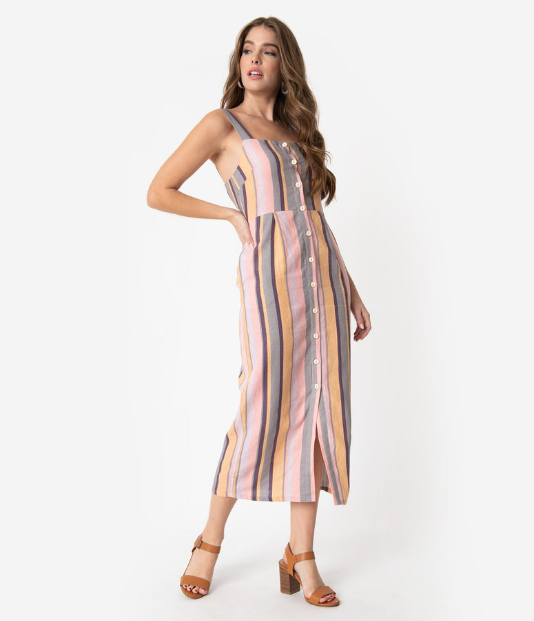 Multicolor Pastel Stripe Linen Button Up Midi Dress