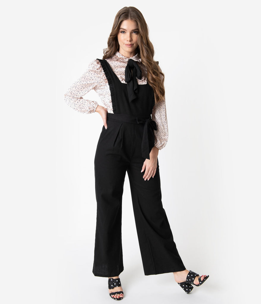 Retro Style Black Linen Ruffle Overall Jumpsuit