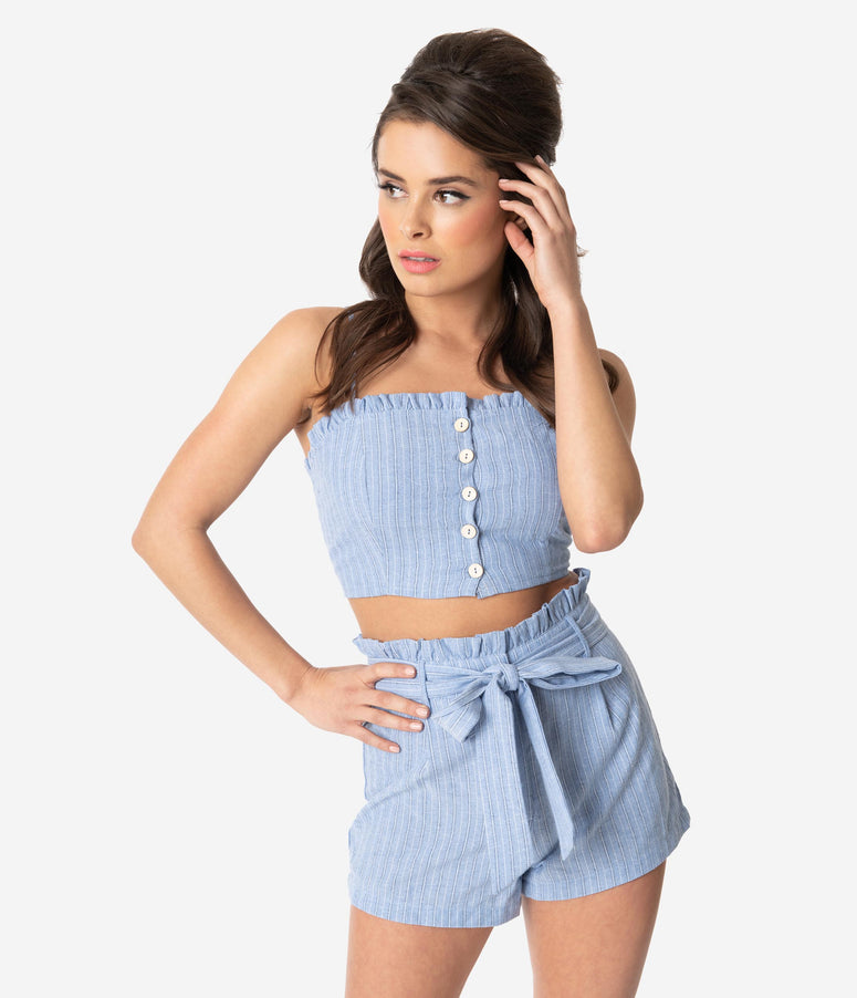3a180ef46243 Retro Style Light Blue Striped Cotton Two Piece Romper Set