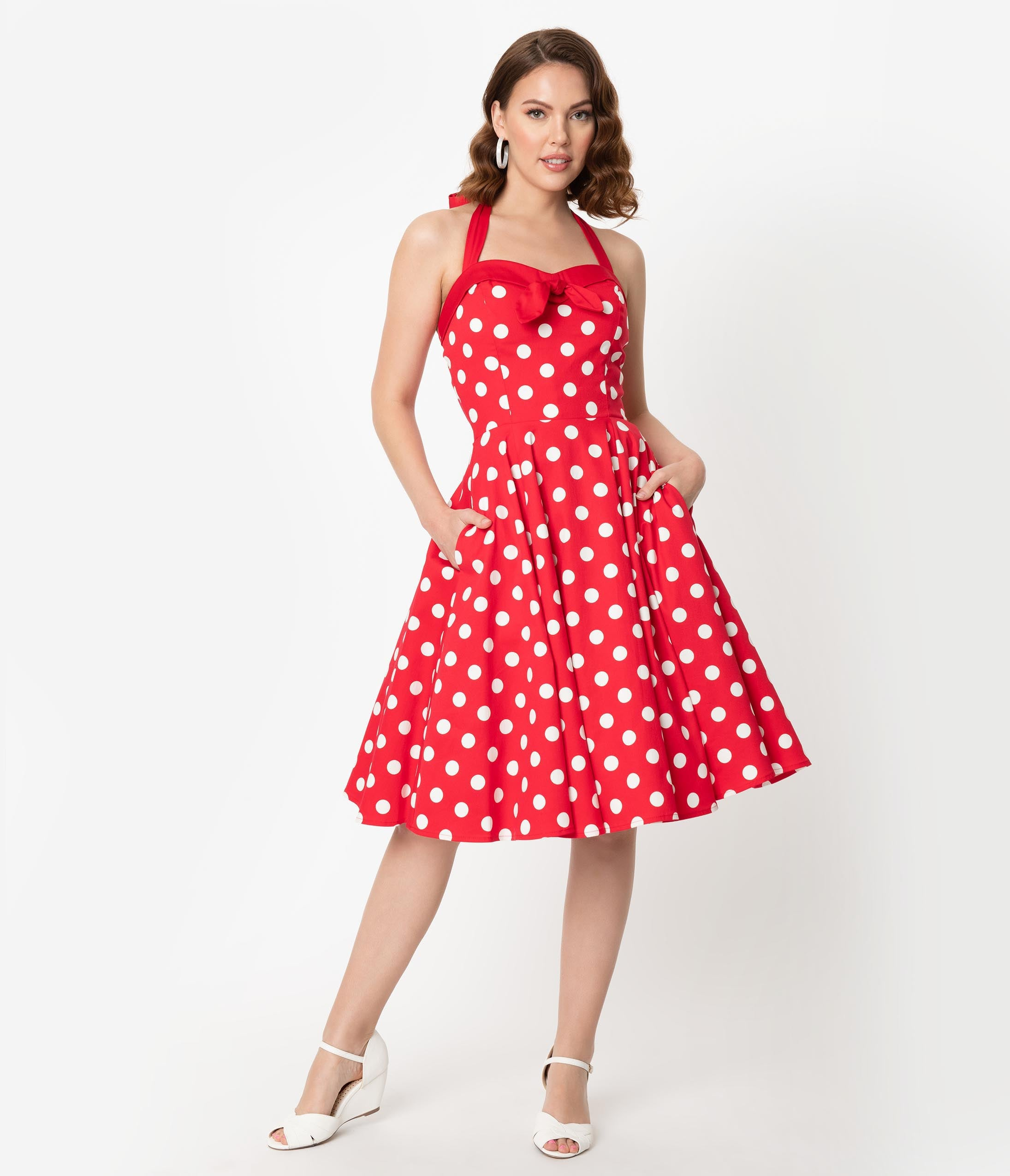Rockabilly Dresses | Rockabilly Clothing | Viva Las Vegas Vintage Style Red  White Polka Dot Print Halter Swing Dress $68.00 AT vintagedancer.com