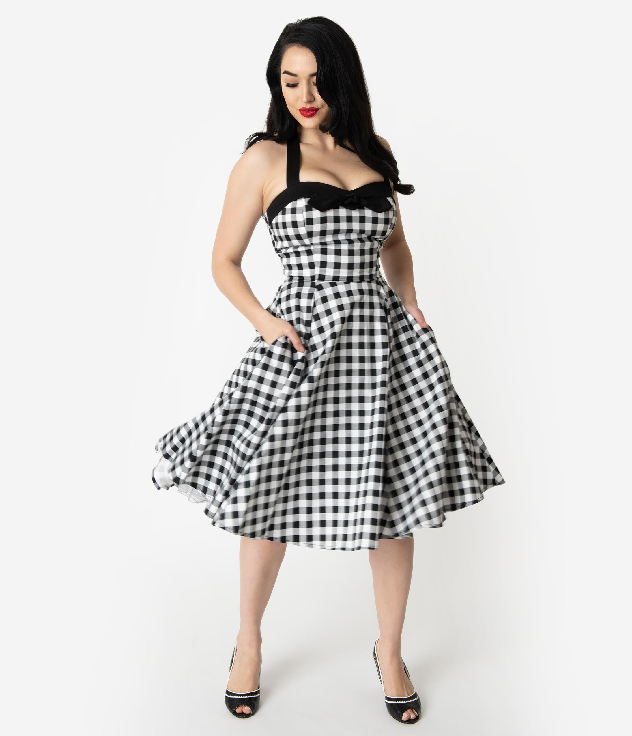 052ab70f1b 50 Vintage Inspired Clothing Stores Vintage Style White Black Gingham Print  Halter Swing Dress  68.00 AT