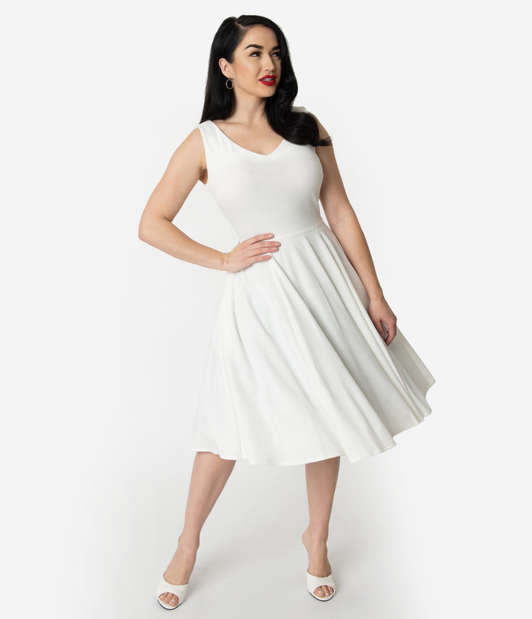 Vintage Style Ivory Crepe Sleeveless Swing Dress