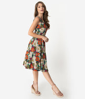V-neck Floral Print Swing-Skirt Cotton Pocketed Back Zipper Vintage Fitted Sleeveless Dress