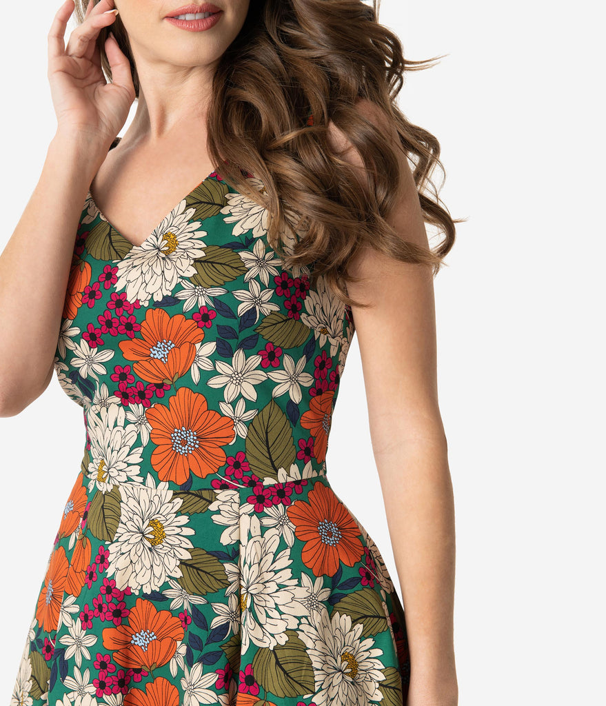 1970s Style Multicolor Floral Print Sleeveless Swing Dress
