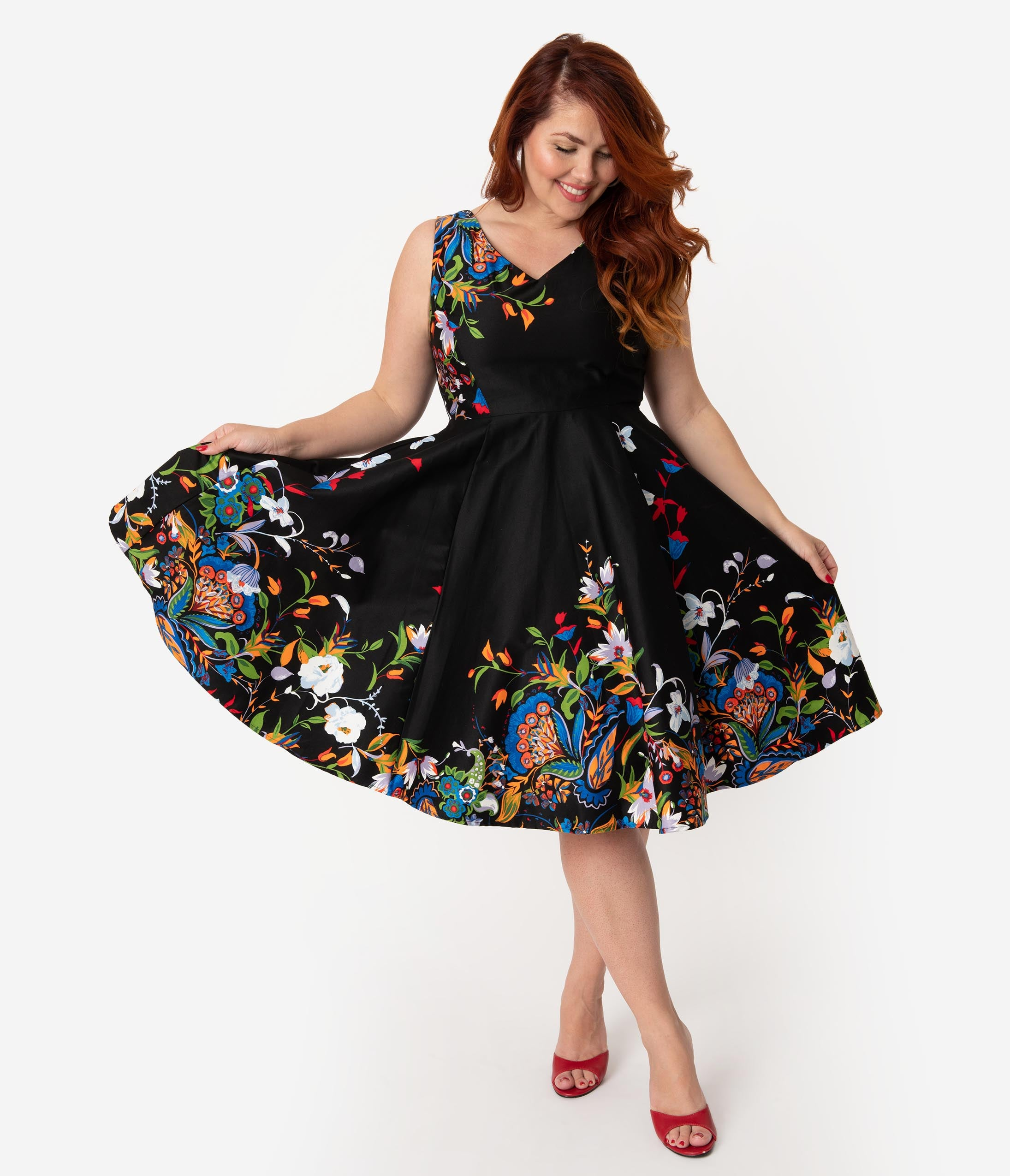 aa91f9b1cc1 Plus Size Black Border Floral Print Cotton Swing Dress