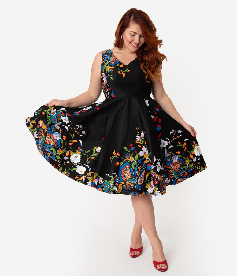 Plus Size Black Border Floral Print Cotton Swing Dress