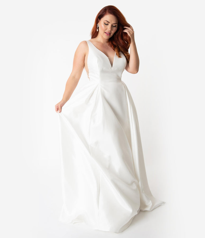Plus Size White Satin Sleeveless Open Back Bridal Gown