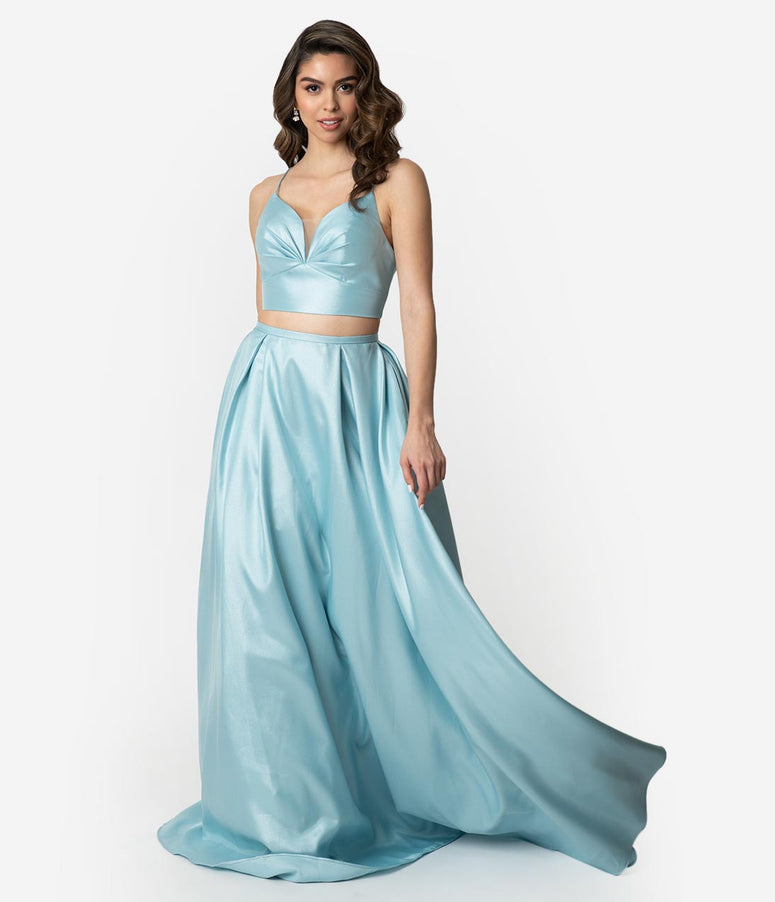 adc4e368e6c Arctic Blue Gleaming Sleeveless Two Piece Long Gown