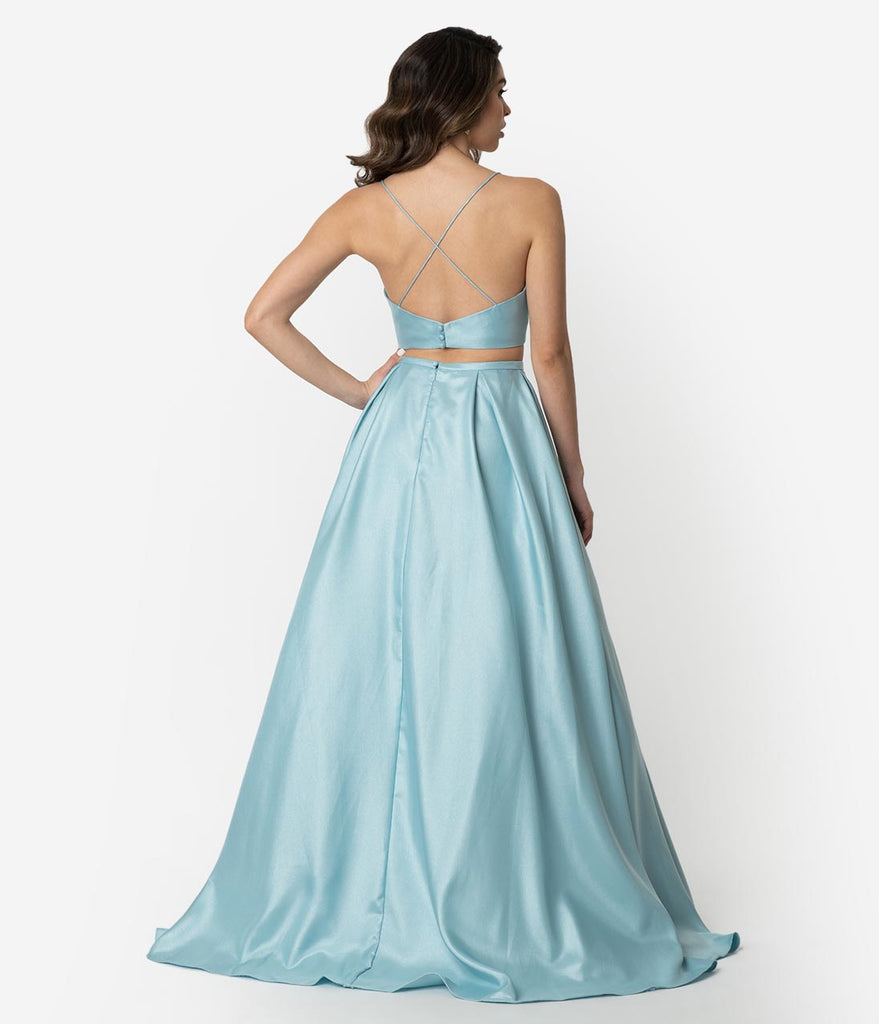 Arctic Blue Gleaming Sleeveless Two Piece Long Gown