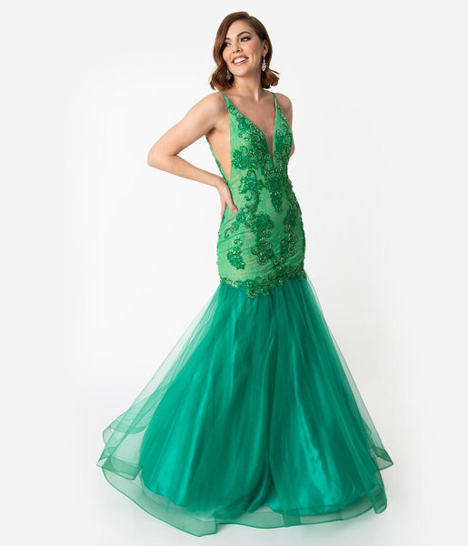 Sexy Fitted Sequined Sheer Mesh Plunging Neck Mermaid Dress by Nox Anabel