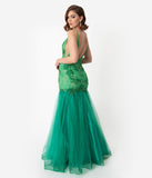 Green Embellished Lace Tulle Sexy Mermaid Long Dress