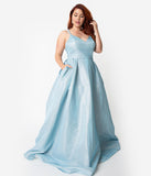 Light Blue Sparkle Spaghetti Strap Sleeveless Gown