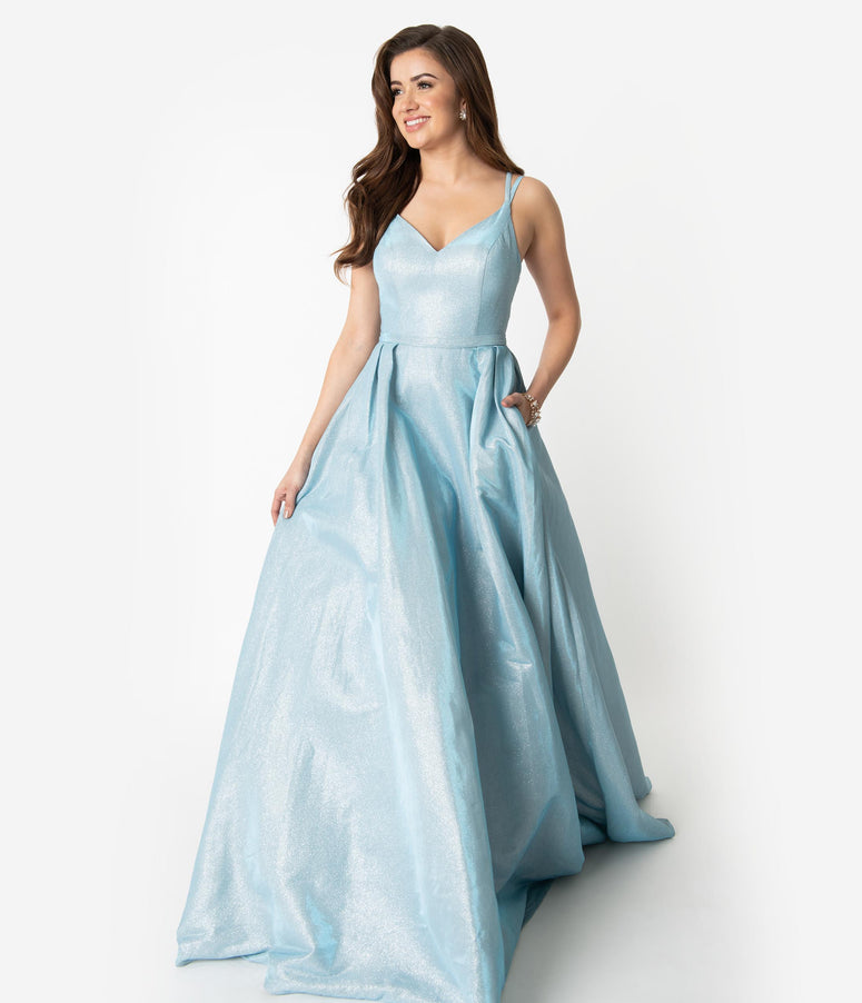 ef8c2fa206d Light Blue Sparkle Spaghetti Strap Sleeveless Gown