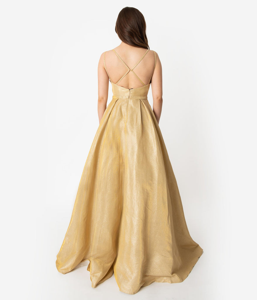 Gold Sparkle Spaghetti Strap Sleeveless Gown