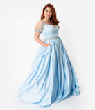 Light Blue & Silver Crystal Cold Shoulder Satin Gown