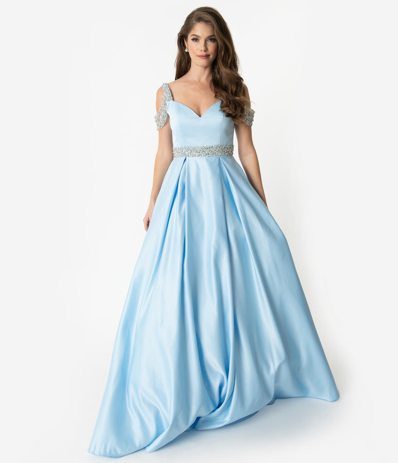 5dc11024c0ae Light Blue & Silver Crystal Cold Shoulder Satin Gown
