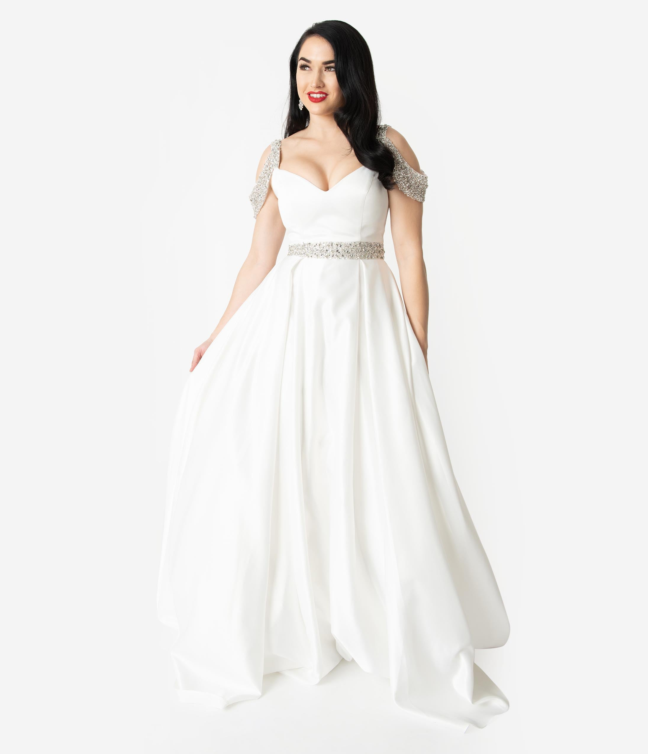 1993251924 White Satin   Silver Crystal Cold Shoulder Wedding Gown