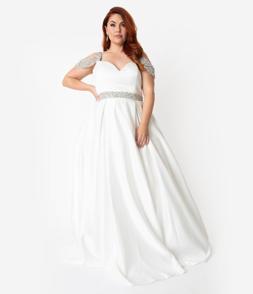 White Satin & Silver Crystal Cold Shoulder Wedding Gown