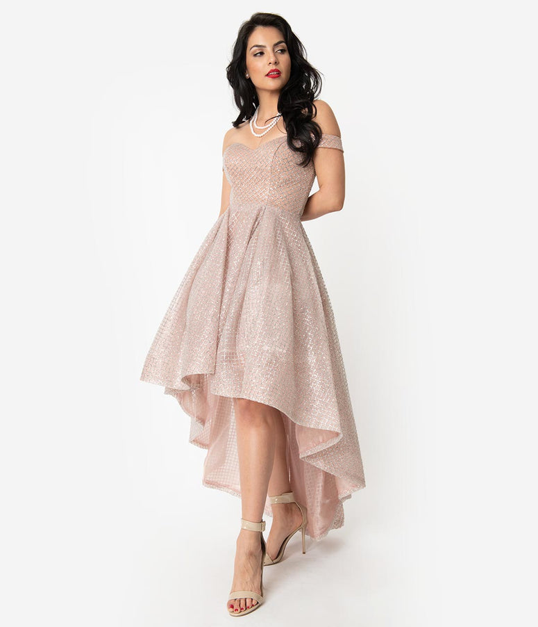 Dusty Rose & Silver Glitter Off Shoulder High Low Ball Gown
