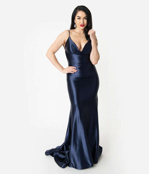 Sexy V-neck Fitted Open-Back Satin Plunging Neck Mermaid Sleeveless Spaghetti Strap Dress by Nox Anabel