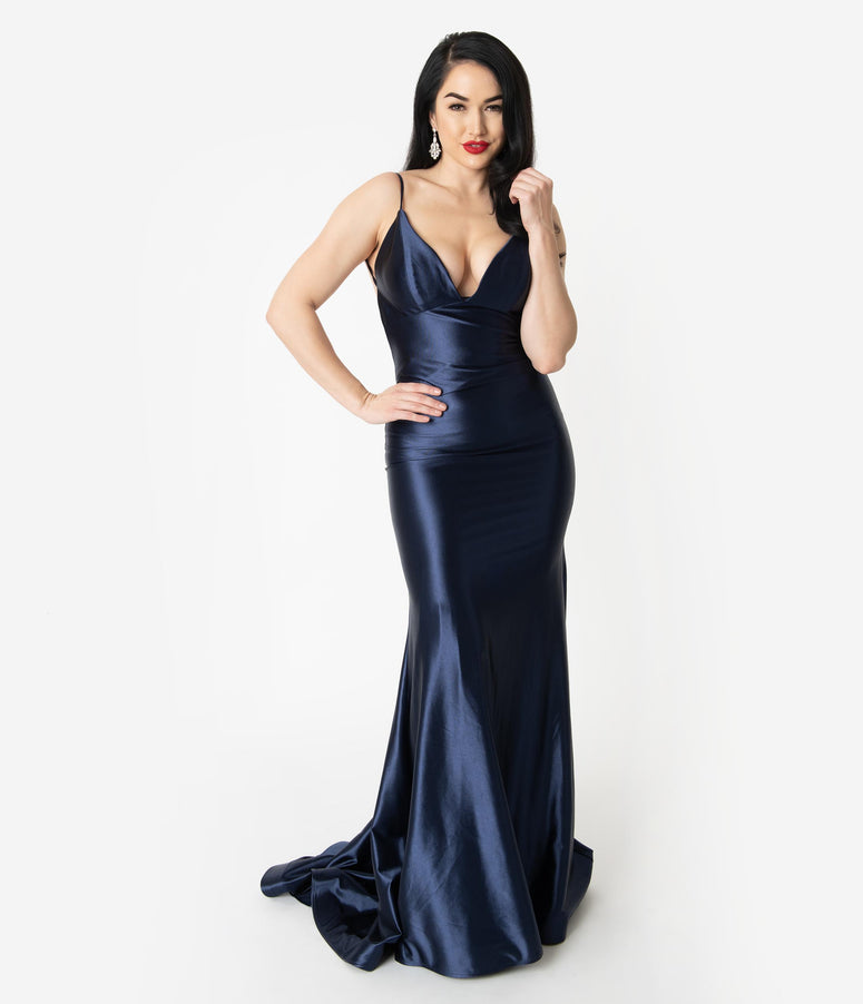 8d4cf335eac Navy Blue Satin Sexy Sleeveless Open Back Fitted Long Dress