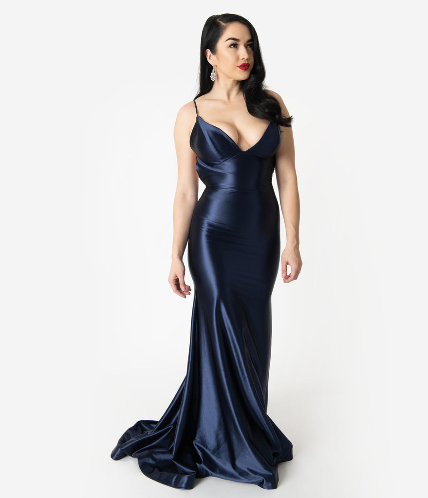 Navy Blue Satin Sexy Sleeveless Open Back Fitted Long Dress