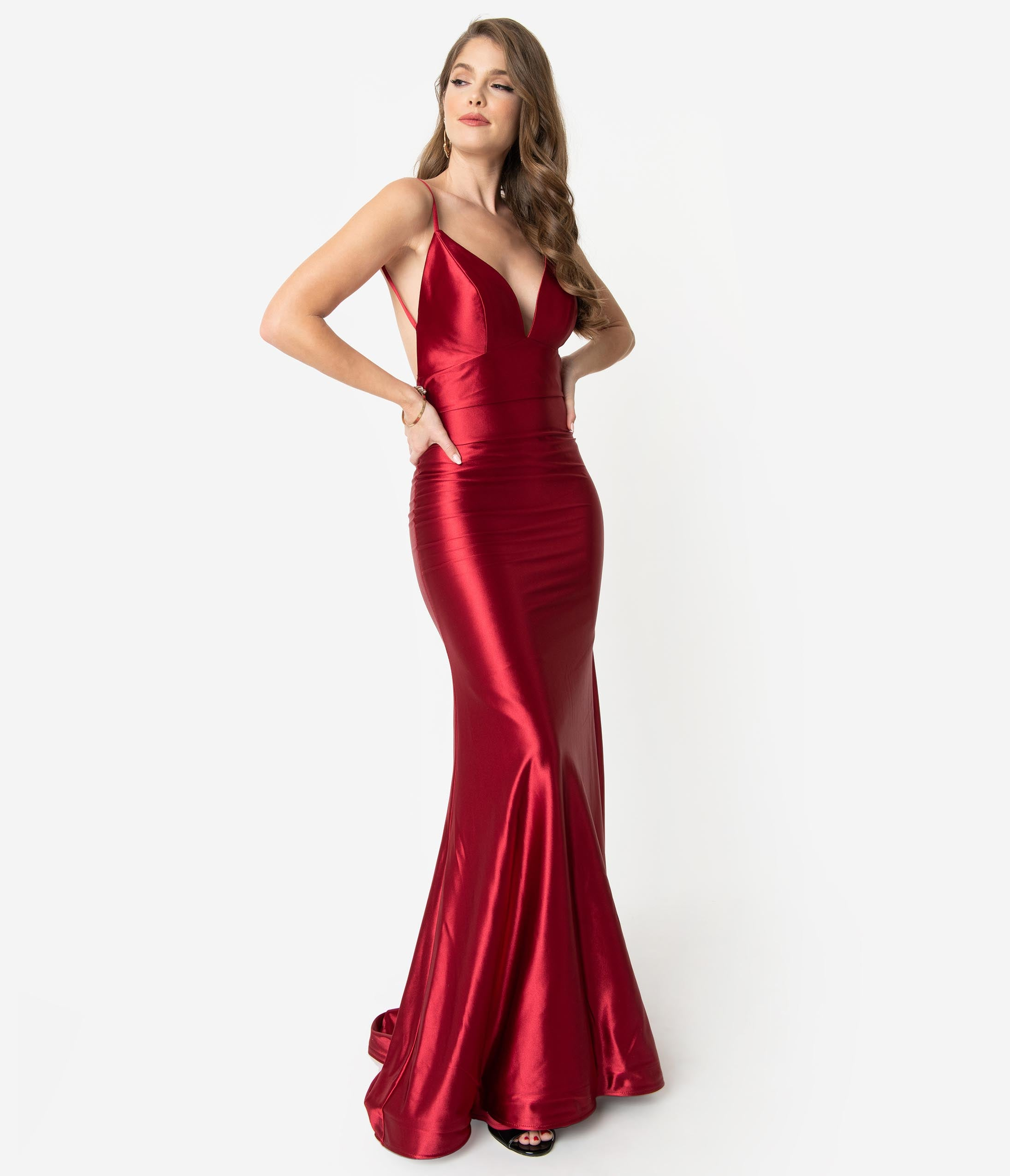 Vintage Evening Dresses and Formal Evening Gowns Boysenberry Red Satin Sexy Sleeveless Open Back Fitted Long Dress $174.00 AT vintagedancer.com