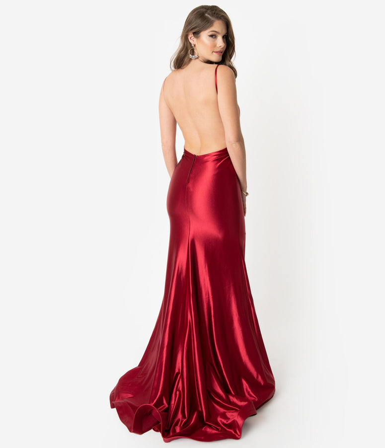 5d725dfaafb Boysenberry Red Satin Sexy Sleeveless Open Back Fitted Long Dress. Quick  View