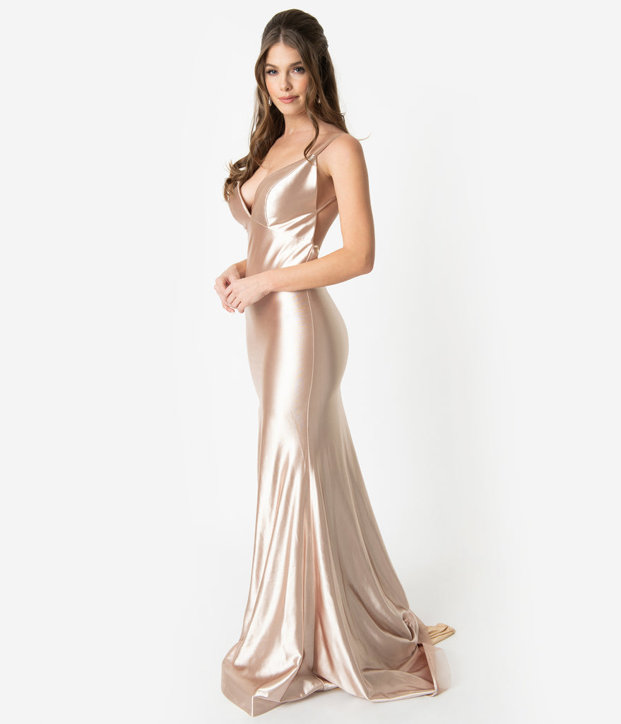 2ad1122b7b398 Champagne Gold Satin Sexy Sleeveless Open Back Fitted Long Dress – Unique  Vintage