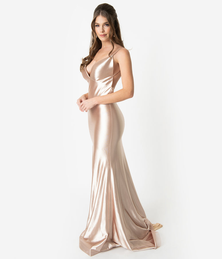 f391af1f2a2b Champagne Gold Satin Sexy Sleeveless Open Back Fitted Long Dress