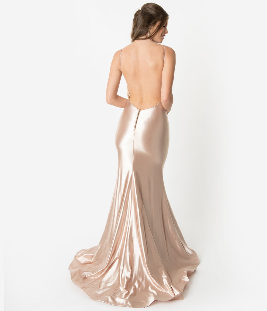 64548a25625e2 ... Champagne Gold Satin Sexy Sleeveless Open Back Fitted Long Dress ...