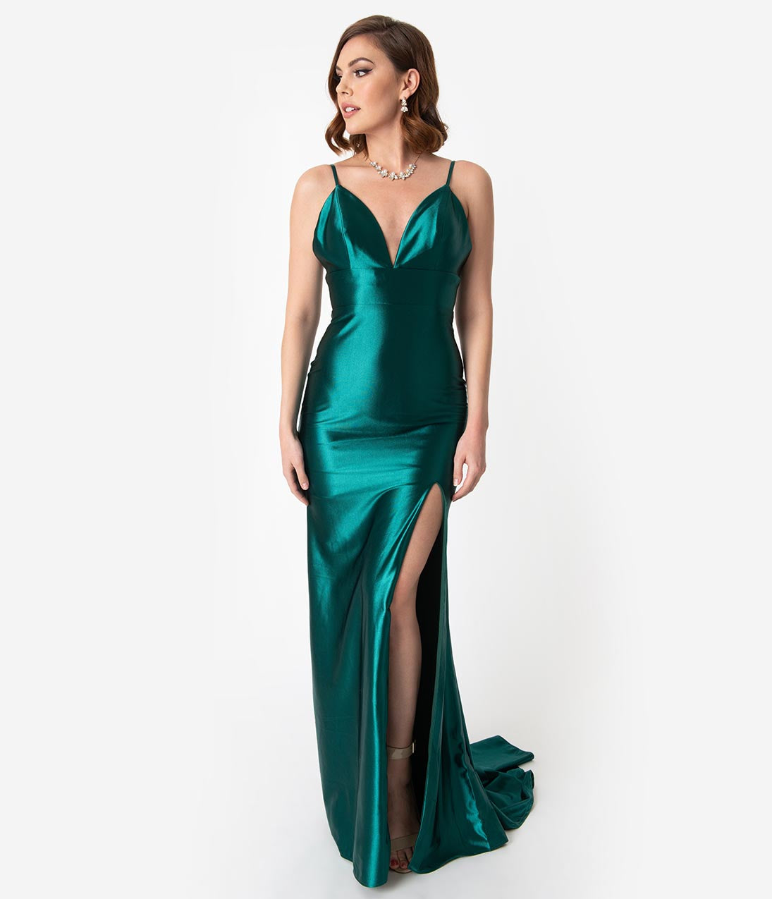 Vintage Evening Dresses and Formal Evening Gowns Emerald Green Satin Fitted Sexy Sleeveless Long Dress $174.00 AT vintagedancer.com