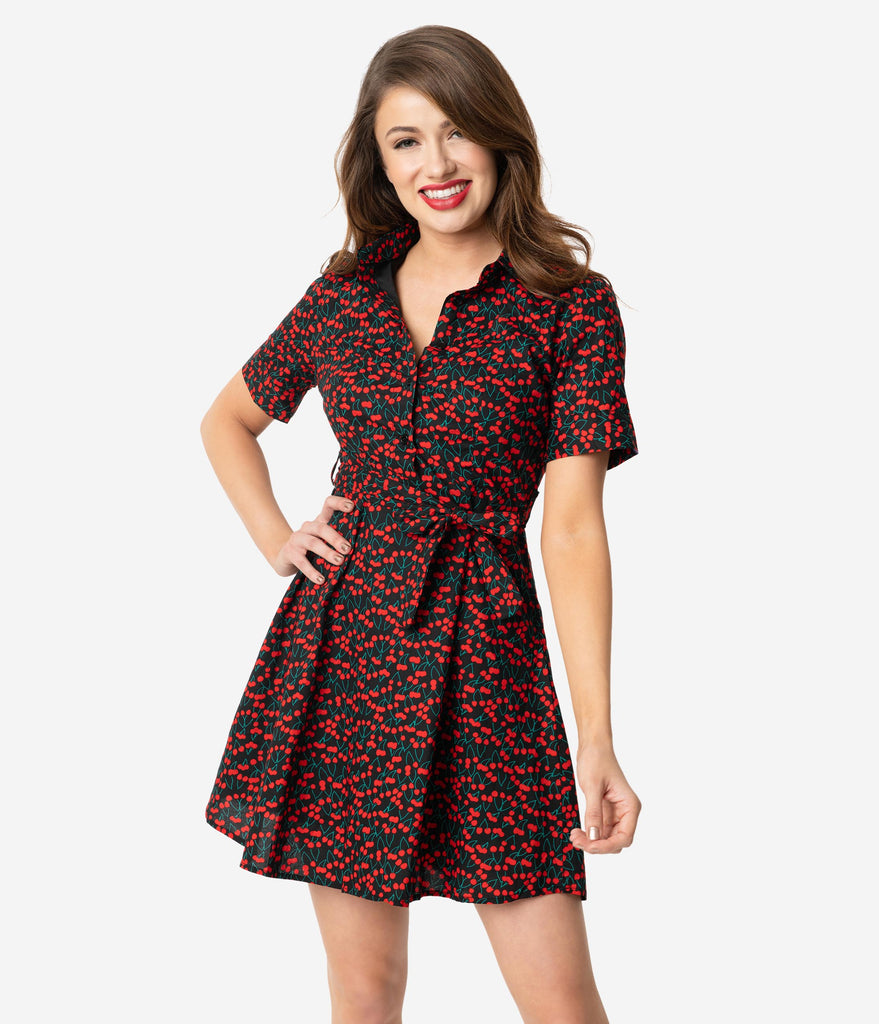 Black & Red Cherry Print Cotton Short Sleeve Fit & Flare Dress