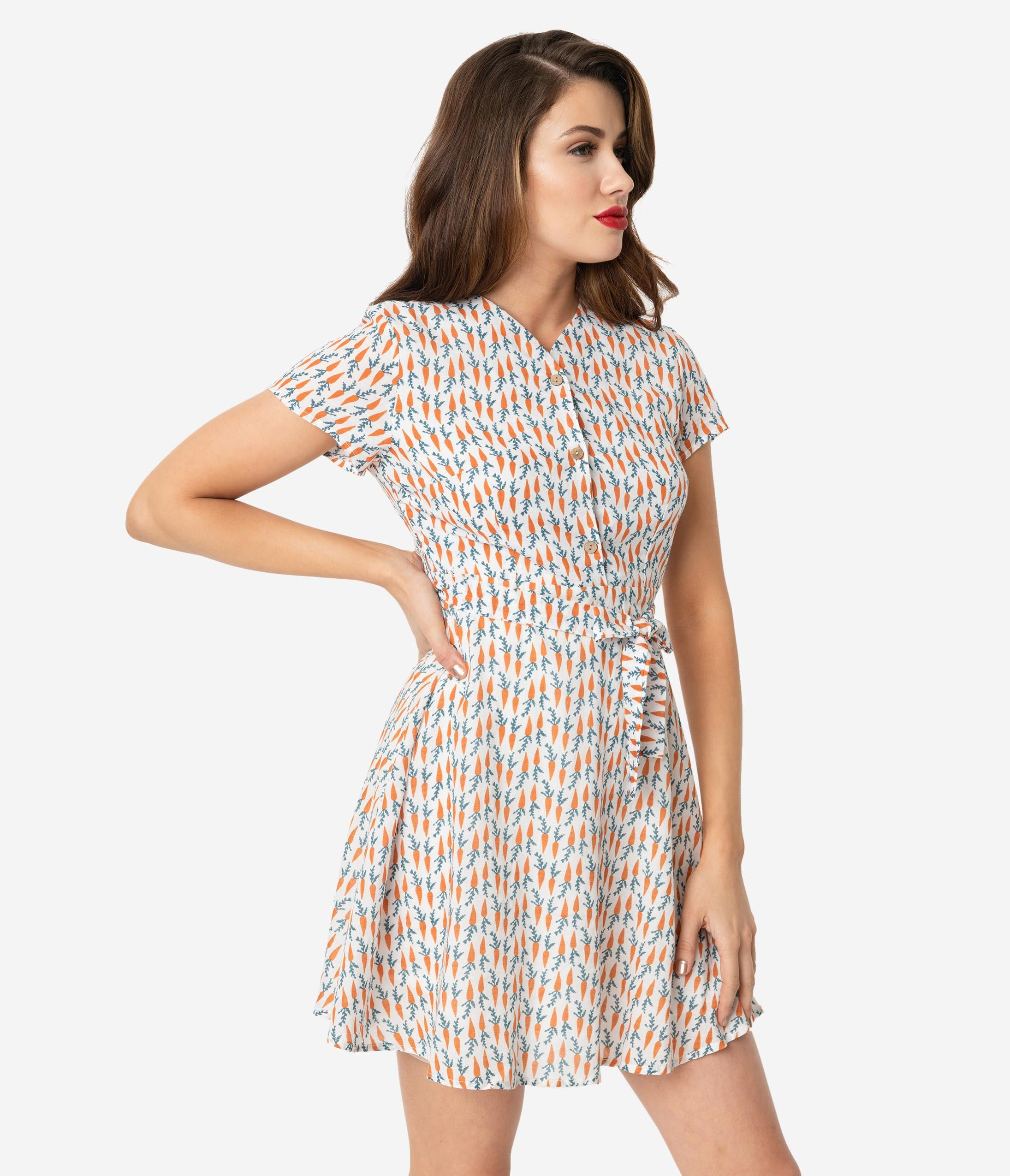 Modest General Print Above the Knee Short Sleeves Sleeves High-Neck Fit-and-Flare Back Zipper Fitted Skater Dress With a Sash