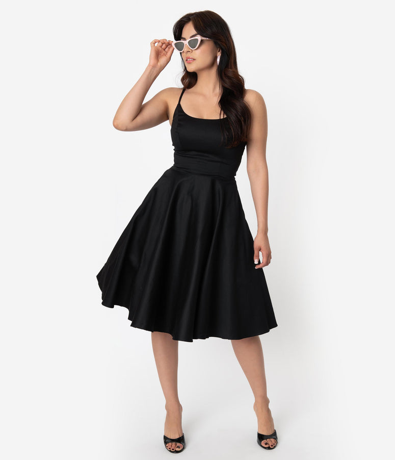 1950s Style Black Sleeveless Cotton Peggy Swing Dress