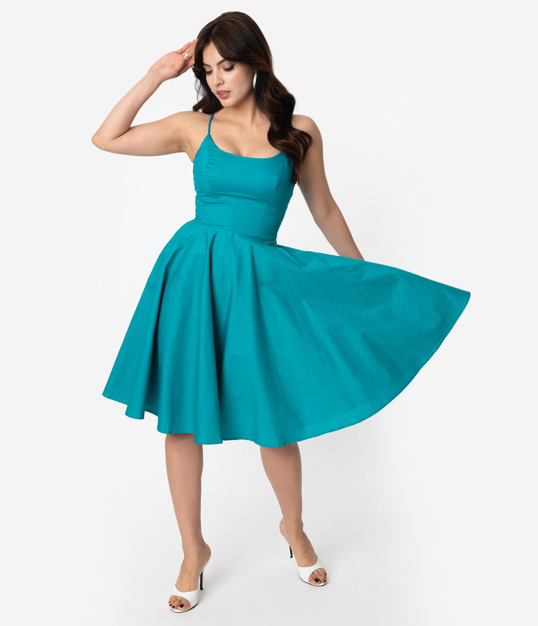 1950s Style Turquoise Blue Sleeveless Cotton Peggy Swing Dress
