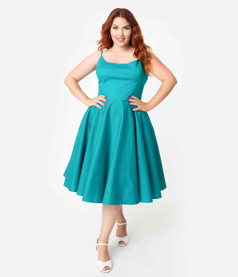 Plus Size 1950s Style Turquoise Blue Sleeveless Cotton Peggy Swing Dress