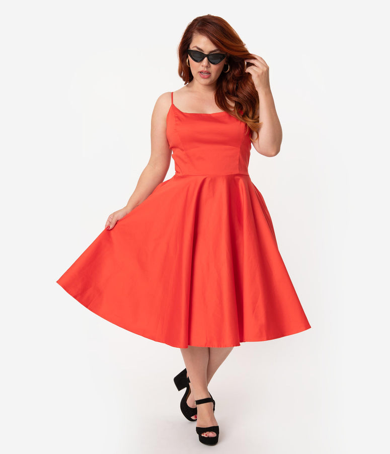 Plus Size 1950s Style Red Fiesta Sleeveless Cotton Peggy Swing Dress