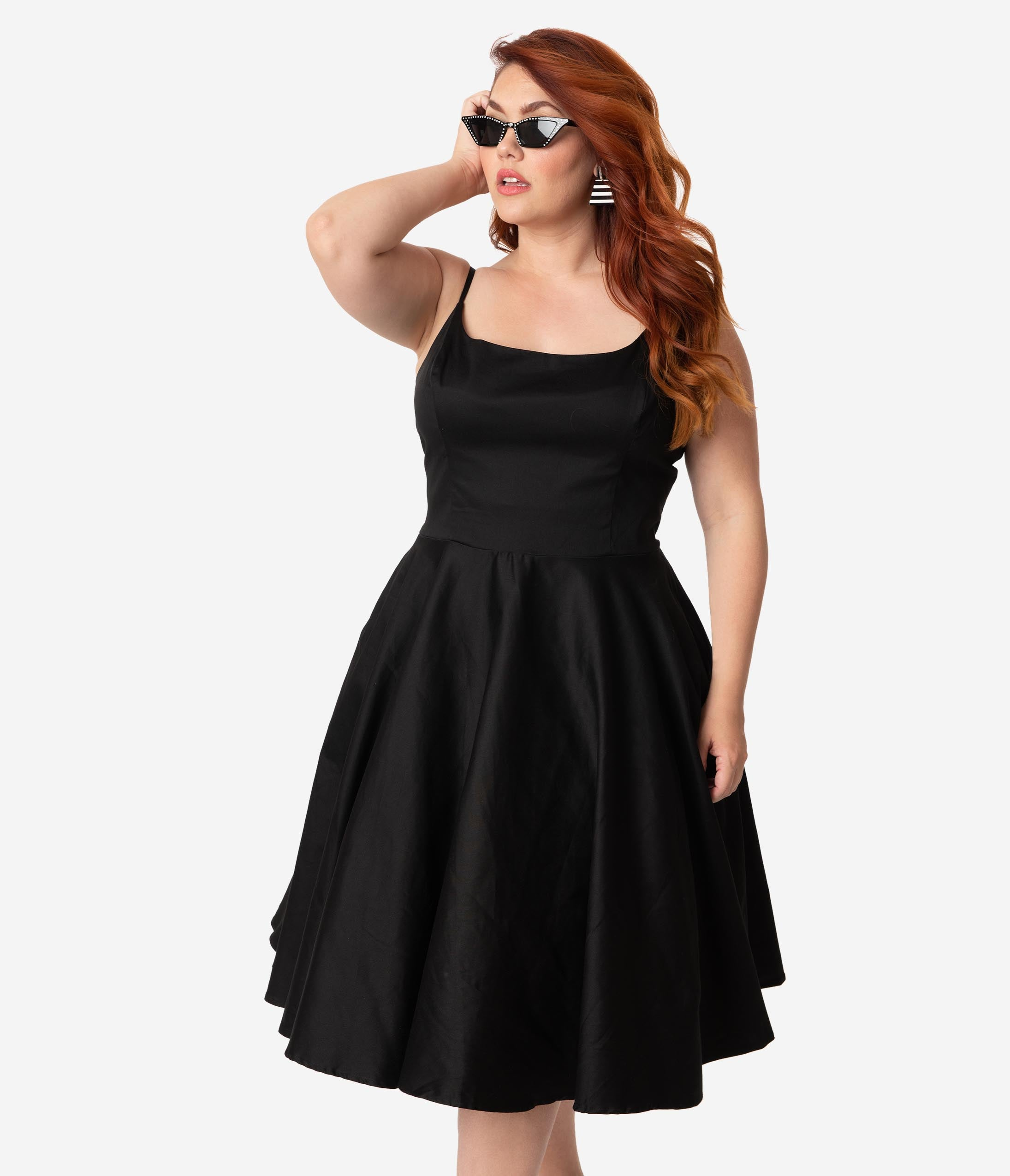 1950s Dresses, 50s Dresses | 1950s Style Dresses Plus Size 1950S Style Black Sleeveless Cotton Peggy Swing Dress $88.00 AT vintagedancer.com