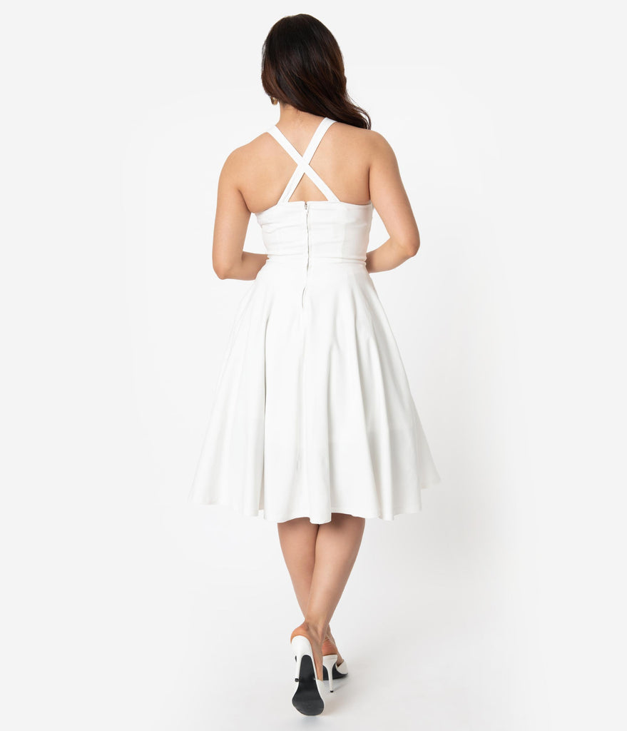 1950s Style White Twisted Sweetheart Marilyn Swing Dress