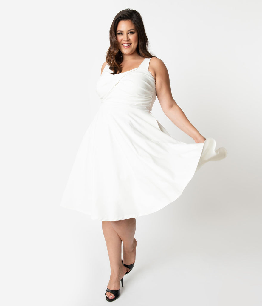 Plus Size 1950s Style White Twisted Sweetheart Marilyn Swing Dress