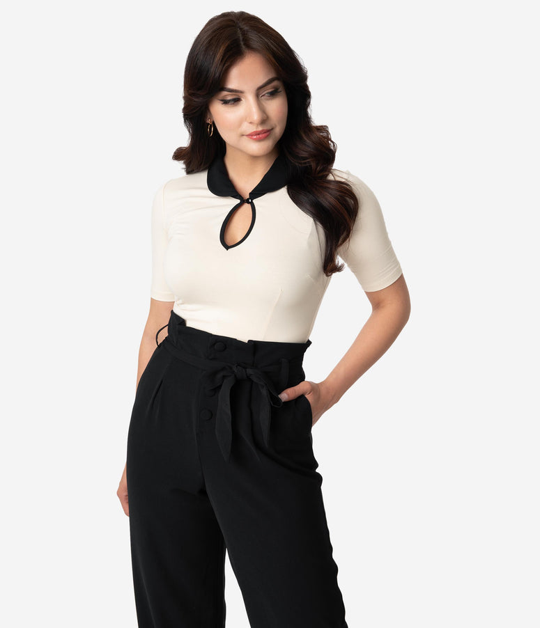 Retro Style Ivory & Black Collar Cotton Stretch Keynote Top