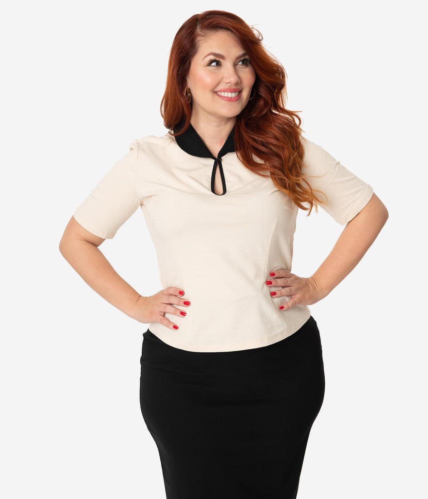 Plus Size Retro Style Ivory & Black Collar Cotton Stretch Keynote Top